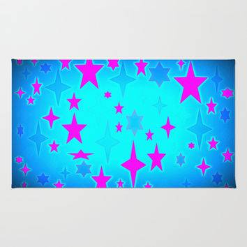 Turquoise Blue & Hot Pink Retro Atomic Stars Area & Throw Rug by 2sweet4words Designs | Society6
