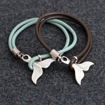 Whale Tail Bracelet  Leather Nautical Bracelet Beach Jewelry