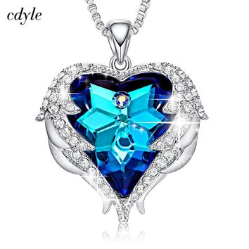 Cdyle Crystals from Swarovski Necklaces Zircon Fashion Jewelry for Women Pendant Blue Rhinestone Luxury Set Heart Statement
