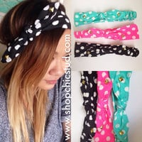 Studded Headband - Polka Dot Tie Bow - Black, Pink or Teal Blue Headband - Silver, Black or Gold Studs