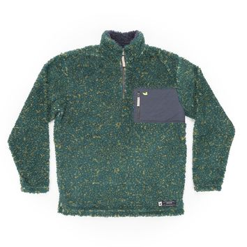 Blue Ridge Sherpa Pullover in Dark Green and Mustard by Southern Marsh