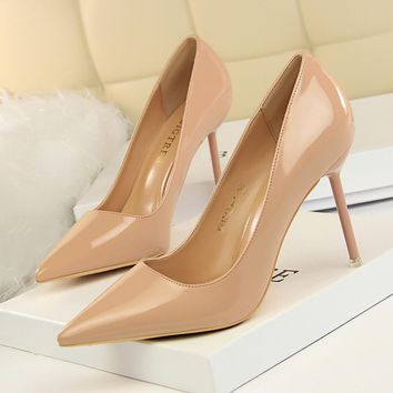 Solid Color PU Stiletto Heel Pointed Toe High Heels Dress Party Shoes