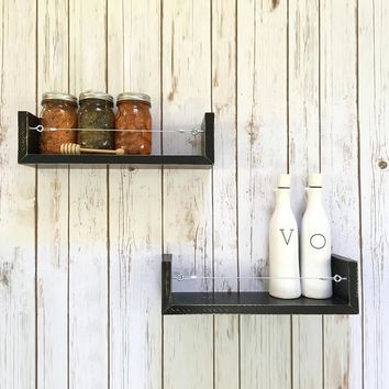 Solid Wood Farmhouse Shelf Set / Spice Racks - Painted Finish