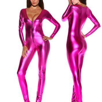 Women Jumpsuits Romper Sexy Solid Latex Catsuits Black/Silver/Gold/Blue/Rose Zipper Night Club Full Sleeve Faux Leather Bodysuit