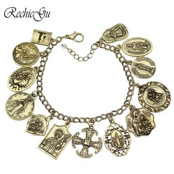 Catholic Religious Church Medals Saints PRAY FOR US Cross Bible Chain Bracelets For Women Bangle Pulseira Masculina MenJewelry