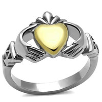 Gold Heart Claddagh - FINAL SALE Two Tone Traditional Irish Stainless Steel Ring