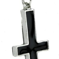 Occult Inverted Cross Necklace with Black Inlay