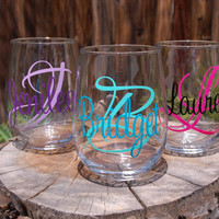 3 Monogram Stemless Glasses Personalized Wedding Party Gifts Engagment Bachelor Bachelorette Bride Groom Bridesmaid Groomsmen Birthdays