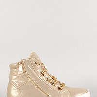 Liliana Shimmer Chain Lace Up Sneaker
