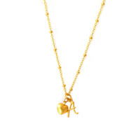 Delicate Gold Initial Pendant with Heart Charm