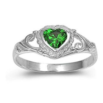Sterling Silver Children's Heart Ring with Emerald Green CZ Heart