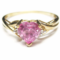 Vintage 10K Yellow Gold Pink Topaz Heart Ring Size 7
