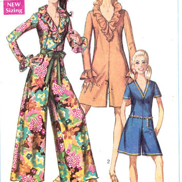 1960's Misses Jumpsuit Pantdress in Two Lengths Simplicity 7956 Vintage Sewing Pattern Bust 34""