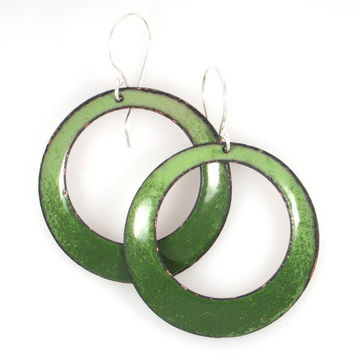 Handcrafted Enamel Earrings in Shades of Green