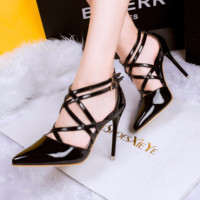 Trendy Cross Strap Point Toe Ankle Stiletto Heels