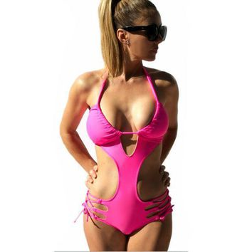 Bandage Swimwear 2017 One Piece Swimsuit Women's Sexy Halter Beachwear Bathing Suit Push Up Vintage Cut Out Monokini Swim Wear