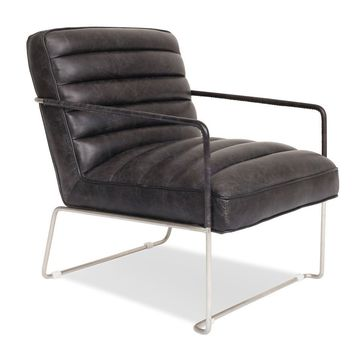 Kennedy Modern Leather Lounge Chair Slate