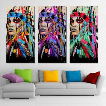 Native American Indian Women in Colorful Feathered Headdress Canvas Wall Art Print for Home and Business Decor 3-Piece