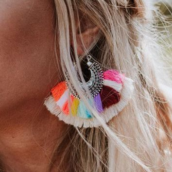 Flamenco Colorful Fan Earrings