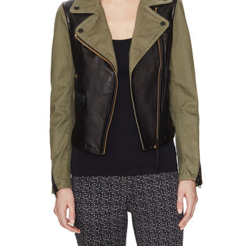 Mackage Women's Minella Cotton & Leather Motorcycle Jacket - Green