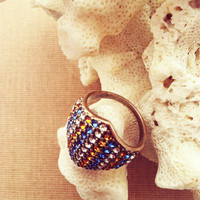 Vintage Ring  Silver Plated Ring Cocktail Ring Vintage Jewelry Vintage Jewellery Swarovski Crystals Blue and Orange Ring