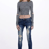 (alp) Cut sleeves cropped ribbed top