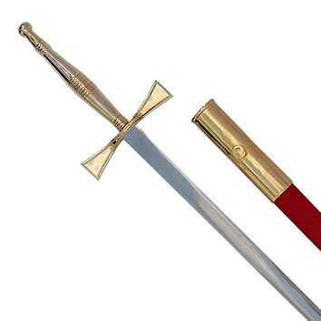 Masonic Sword with Gold Hilt and Red Scabbard 35 3/4""