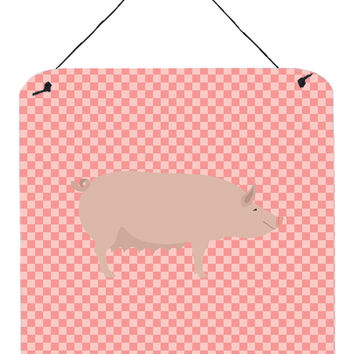 English Large White Pig Pink Check Wall or Door Hanging Prints BB7938DS66