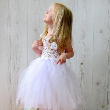 Christening girls dresses white flower girl dress crochet tutu dress communion crochet tulle dress