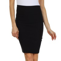 Sakkas High Waist Stretch Pencil Skirt with Rear Bow Accent
