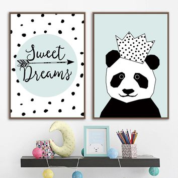 Black White Panda Quotes Wall Art Canvas Painting Nordic Posters And Prints Cartoon Wall Pictures For Kids Room Baby Room Decor