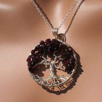 Tree Of Life Necklace Garnet Pendant Silver Trunk On Silver Chain Wire Wrapped Semi Precious Gemstone Jewelry January Birthstone