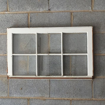 Vintage 6 Pane Window Frame - White Window, 27 x 19, Rustic, Wedding Decor, Beach Decor, Photos, Pictures, Holiday Decor, Farmhouse