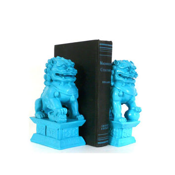turquoise foo dogs, bookends, asian home decor, bookend, chinese dogs