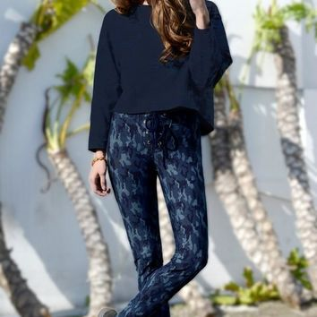Banded Waist Skinny Pants In Camo Print- Blue