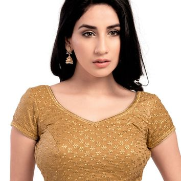 Gold Velvet Feel Party-wear Indian Saree Blouse - KP-60