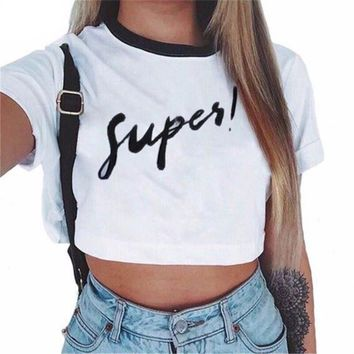 Fashion Summer Women Casual Short Sleeve Fashionable Print Half Wait Short T-Shirt Lady Plus Size Tee Sexy Party Club Crops Top
