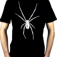 White Print Black Widow Spider Men's T-Shirt Halloween Horror
