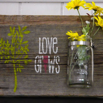 Rustic Barnwood & Mason Jar Wall Art HandPainted by TheDoubleDubs