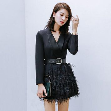 2018 New Women Mercerized Black Blazer Dresses Fashion V Neck Slim Long Sleeve Dress Ostrich Real Fur Luxury Elegant Dress AD037