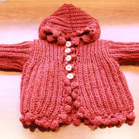 Ready to be shipped TODAY / Hand Knit hooded Tweet Baby Coat New born to 8 month
