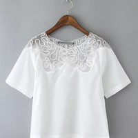 White Embroidered Round Neckline Chiffon Top