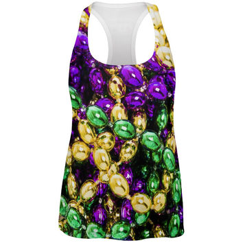 Mardi Gras Beads All Over Womens Racerback Tank Top