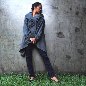The look of love...Blue Gray thick linen/cotton Winter Jacket dress  (fits S-L)
