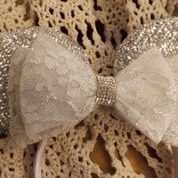 Minnie Mouse Ears Headband Silver Sparkle with White lace Bow