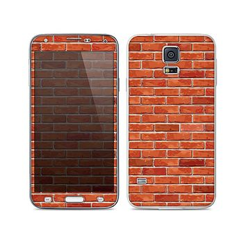The Bright Red Brick Wall Skin For the Samsung Galaxy S5