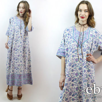 Indian Dress Hippy Dress Festival Dress Vintage 90s does 70s Indian Cotton Maxi Dress XL 1X Hippie Dress India Dress Plus Size Dress