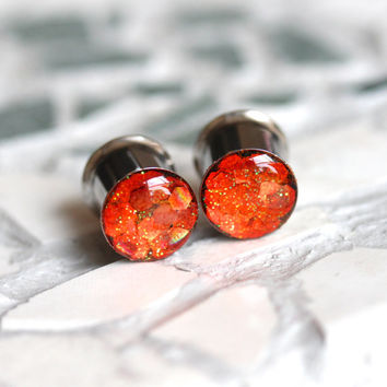 Orange Glitter Plugs, Sparkle Gauges, Orange Plugs, Neon Plugs, Summer Plugs - sizes 0g, 00g, 7/16, 1/2, 9/16, 5/8, 3/4, 7/8, 1""