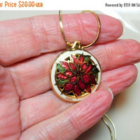 SALE Poinsettia necklace, Cloisonne flower pendant, Christmas jewelry, Gold plated chain, gift for her, Holiday gift, Gingerlsittlegems