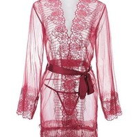 Florala Laced Robe - Red